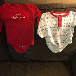 Infant Christmas onesies 3-6 mos